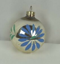Glass Ornament Christmas Tree Antique Silvered Painted Flower Blue Green Fancy