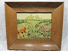 "Vtg Americana ~ E. Melvin Bolstad Framed Print 14""x12"" ~ Country Lawn Party"