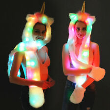 Unicorn Faux Fur Animal Ears Hat Gloves Mittens LED Long Scarf Snood Hood Paws Q
