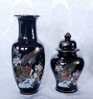 Lidded Ginger Jar and Vase Set Black Ceramic with Pheasant Multi-Color Floral