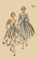 Vintage 1950's Sewing Pattern Evening Dress Cocktail Wedding Scalloped Bust 34""
