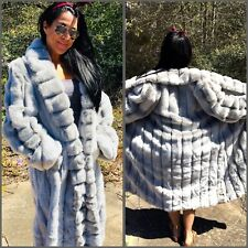 TERRY LEWIS Women Classic Luxuries Gray FAUX FUR Shawl Collar Full Length Coat L