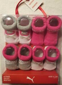PUMA Baby Girls 4 pair Premium Infant Booties Socks Size 0-12M Gift Box FREE SHP