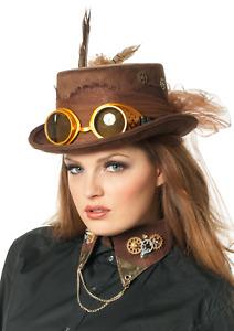 Zylinder Steampunk mit Brille braun Viktorianisch Karnevalhut Halloweenhut