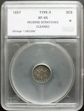1857 3CS SILVER THREE CENTS EXTRA FINE++ /DETAILS