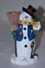 "Snowman candle holder stand. plaster material 6 1/4"" tall"