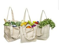 Canvas Grocery / Beach Bags (Tote) Eco Friendly / Organic Cotton (Set of 3)