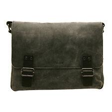 Ashwood-Nero Borsa A Tracolla Stile Messenger Bag in MUCCA SPEZZATO pelle stropicciata