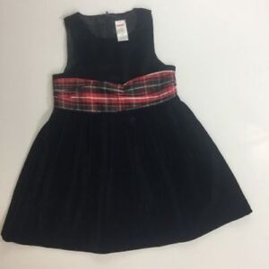 Gymboree Girls Holiday Classic Black Jumper Plaid Sash Christmas Dress 4