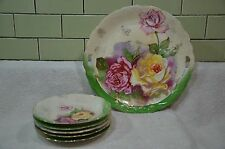 Vintage Hand Painted Handled Cake Plate W 5 DESSERT PLATES Roses MADE IN Germany