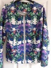 Ladies lightly quilted zipped top by Klass.Size 12.Multicoloured floral