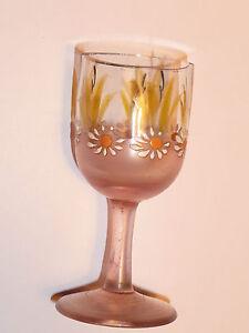 ancien petit verre à pied émaillé fleuri , 1900 , LEGRAS ?? ,Enamelled glass