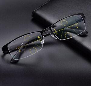 Progressive Reading Glasses Metal Half Frame Transition Lens ADD/0 +1.0 to +3.0