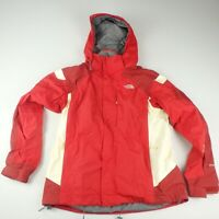 The North Face Womens L Ski Snowboard Jacket Winter Snow Red Cream Hyvent Coat