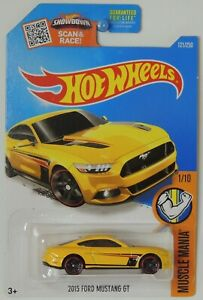 2016 Hot Wheels 2015 Ford Mustang GT Yellow 121/250 Muscle Mania #1 DHR32
