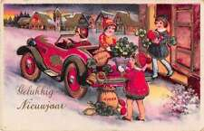 Dutch Happy New Year children unloading car snow scene antique pc Y13117