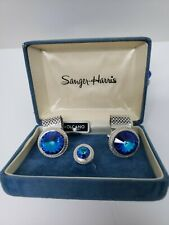 VINTAGE SANGER-HARRIS CUFF LINKS & TIE TAC SAPPHIRE COLOR WITH  SILVER ACCENT