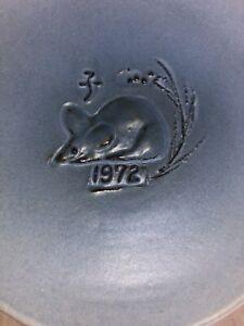 YEAR OF THE RAT 1972 VTG Kyoto, Japan FUJIHIRA POTTERY. Commemorative Plate, Box