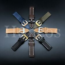 Mens Genuine Leather Watch Band Strap 26mm Brown Black for Panerai iWatch
