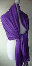 Purple Pashmina Wrap Shawl Oversized Evening Wedding Scarf Tassels New