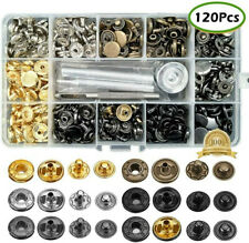 120 Sets Snap Fasteners Kit 12.5mm Metal Buttons Press Studs Leather Bag Jacket