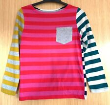 Mini Boden Girls Top Age 7 8 Rainbow Stripy Casual Autumn Everyday Pocket