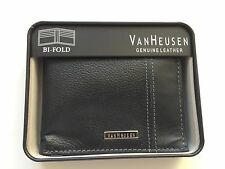 Van Heusen Men's Black Leather Bifold Wallet Boxed $30