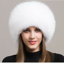 Women Real White Fox Fur Hat Russian Winter Warmer Ear Cap Ushanka Cossack Ski