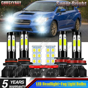 For Subaru WRX 2015 2016 2017 2018-2020 LED Headlight + Fog Light Bulbs 6000K-6x
