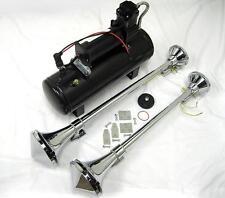 TWIN Chrome 150 DB Trumpet LOUD Train Air Horns Kit w Cone + 150psi Compressor