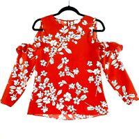 Witchery Women's Sz 6 Red Flower Peekaboo Ruffle Shoulder Long Sleeve Top Blouse