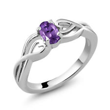 0.35 Ct Oval Purple Amethyst 925 Sterling Silver Women's Solitaire Ring