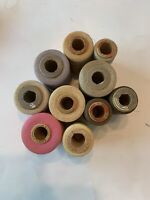 10 Vintage Large Spools of Thread Assorted Colors And Sizes