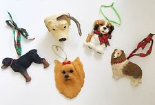 DOG LOVERS Tree Ornaments Holiday Christmas Decorations Canine Pets Set Of 5