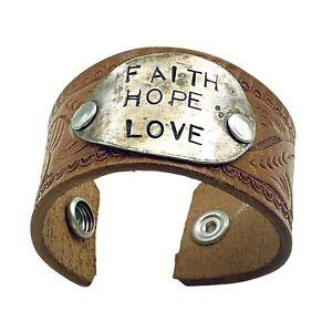 Western Steerhide Unisex Bracelet Tooled Leather 925 Sterling FAITH HOPE LOVE