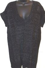 ALFANI Petite Sweater Tunic Black White V Neck Short Sleeve Size Medium P