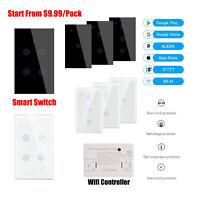 Smart WIFI Wall Light Switch 1/2/3/4 Gang Touch Panel For Google Alexa IFTTT