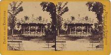 Kiosque à musique Paris Stéréo Stereoview Vintage Albumine ca 1865