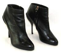 SERGIO ROSSI Bottines Glamour talon 12 cm cuir veau noir 38 EXCELLENT ETAT BOITE