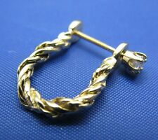 Solid 14k Yellow Gold Twisted Rope Pirate Shackle Themed Earring Diamond Post