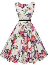 Ladies Dress A-Line Vintage Style Dress White with Colour Flowers Sz 2XL BNWT