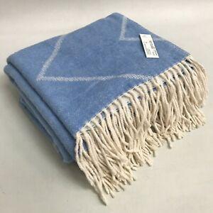 New Newplaids Throw Blue Cream Cotton Chevron Zig Zag Tasselled Blanket 473206