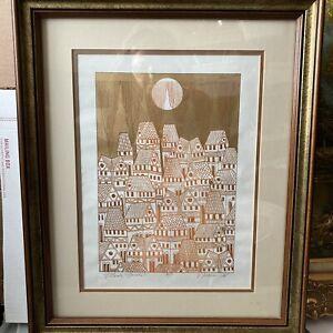"""John Nartker Hillside Houses Serigraph Wall Artist's Proof Framed 23 X 18"""" MCM"""