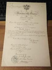 MINISTERO DELLA GUERRA SOSPENSIONE RAGIONIERE D'ARTIGLIERIA 1893  (MOVIE)