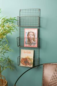 Metal Wire Wall Mounted Magazine Rack File Organiser Retro Industrial Style
