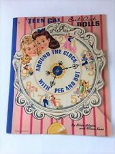 New ListingVtg Rare 1943 Around The Clock With Peg And Dot Paper Doll Book Merrill Pub #980