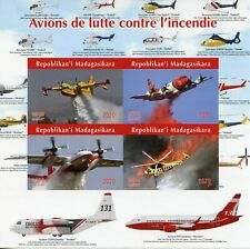 Madagascar Aviation Stamps 2020 MNH Firefighting Aircraft Helicopters 4v IMPF MS