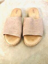 Born Beige Sandals Cork Sole Leather 10 M