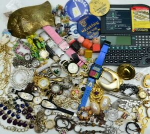 Junk Drawer Lot Vintage to Now Collectibles Estate Jewelry Watches Pins Toys