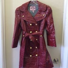 NWOT JUICY COUTURE RED TRENCH PATENT LEATHER COAT JACKET SIZE PS AND M